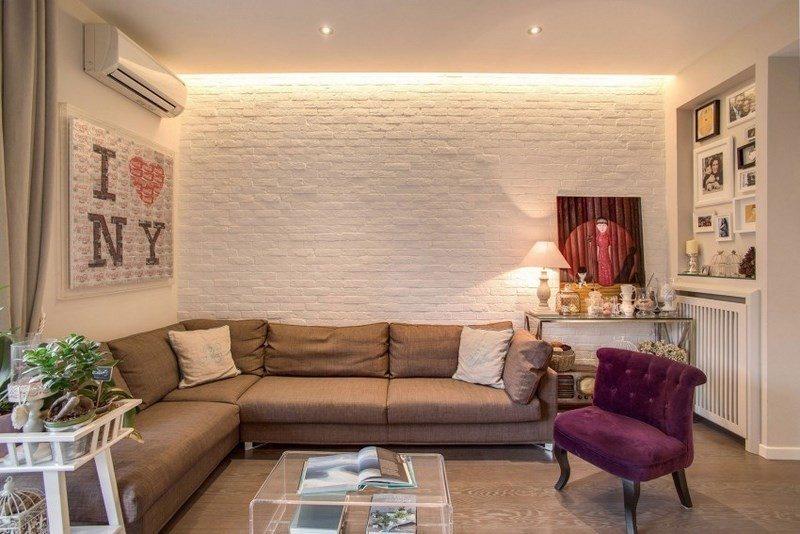 decoracion salones pared ladrillo blanco ideas