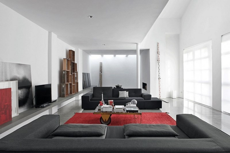 decoracion salones sofa negra alfombra roja ideas