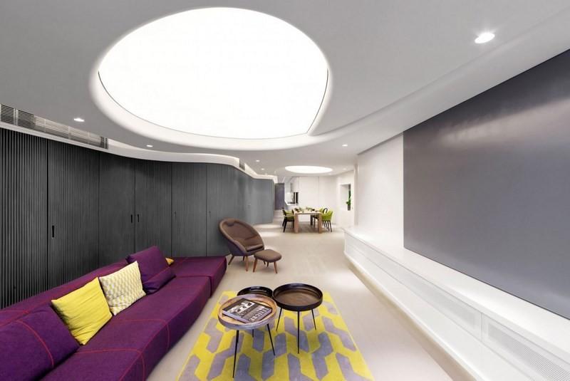 decoracion salones sofa purpura ideas