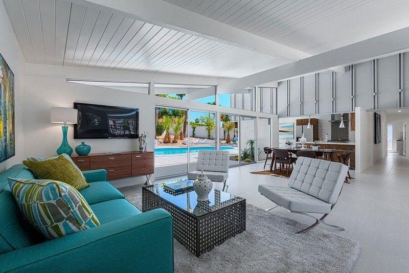 decoracion salones sofa verde llamativo ideas