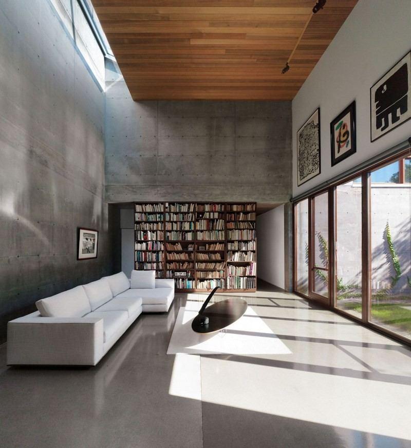 decoracion salones techo alto estanteria ideas
