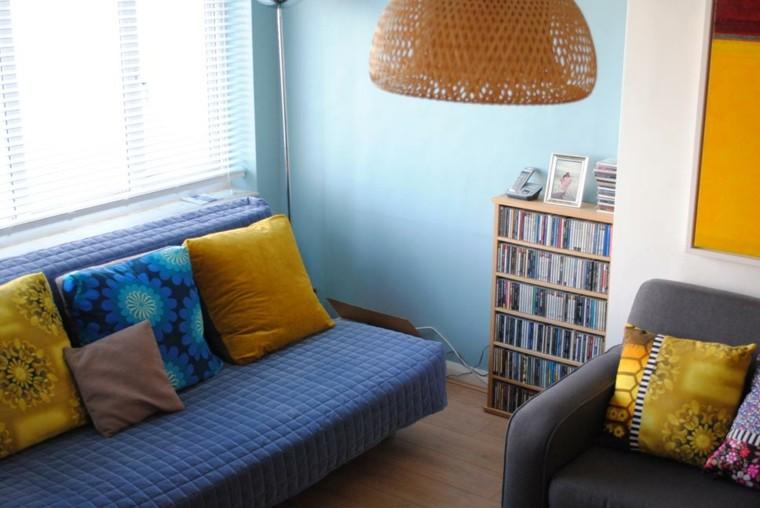 decoracion estilo vintage azul amarillo