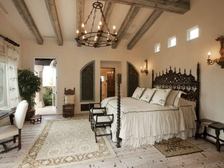 decoración estilo vintage cama dosel dormitorio ideas