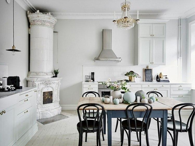 decoracion vintage escandinavo cocina amplia ideas
