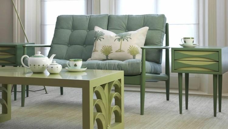 decoracion vintage muebles verdes salon ideas
