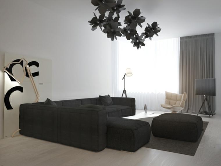 decoraciones de salones lamparas madera grises