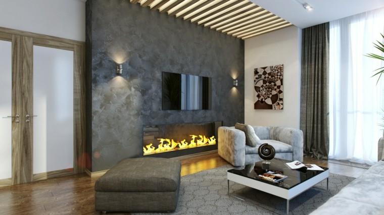 decoraciones de salones maderas chimeneas