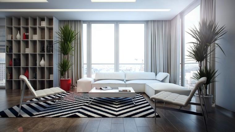decoraciones de salones negro blanco macetas