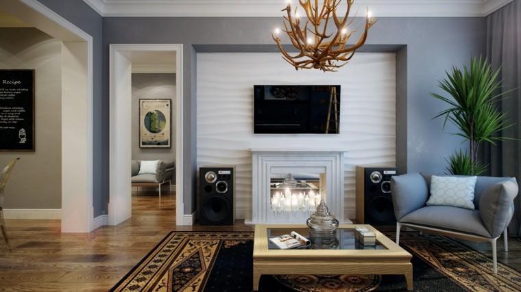 decoraciones de salones negro cuernos moderno