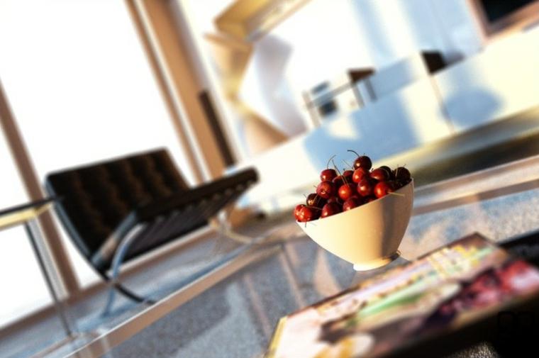 decoraciones de salones sillas frutas rojo