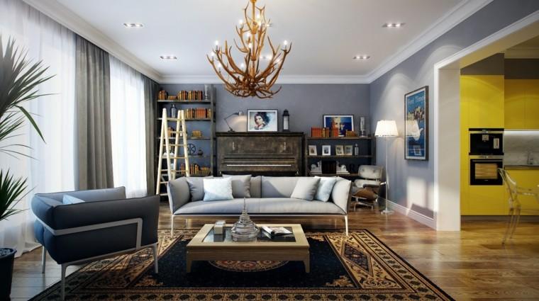 decoraciones de salones sillas lamparas dorado