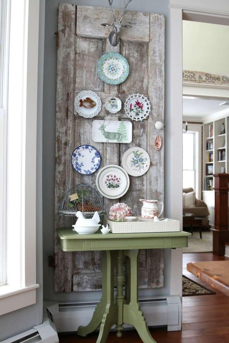 decoración vintage mesilla color verde