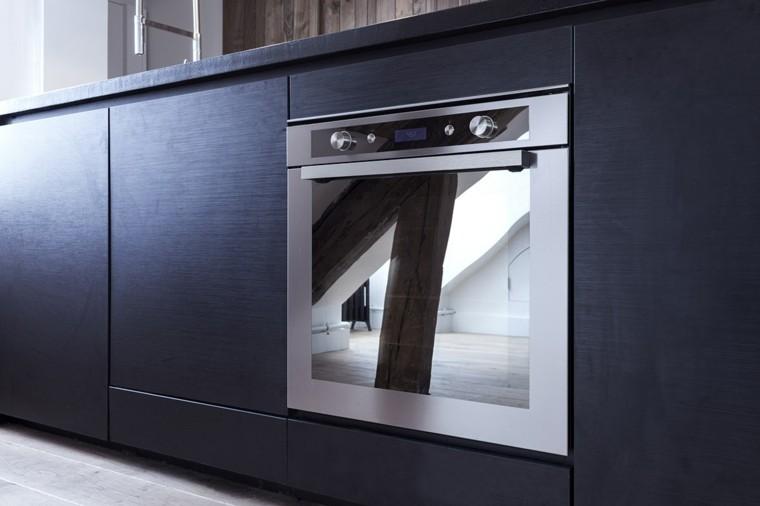 decorado cocina pequeña diseño negro