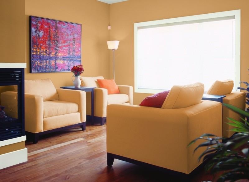 decorar paredes colores salon muebles amarillos ideas