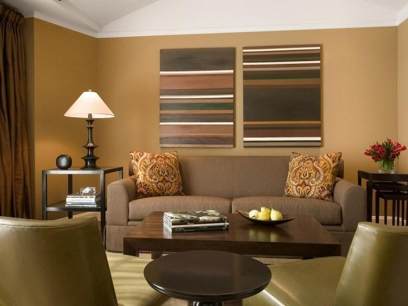 decorar paredes colores salon muebles marron ideas