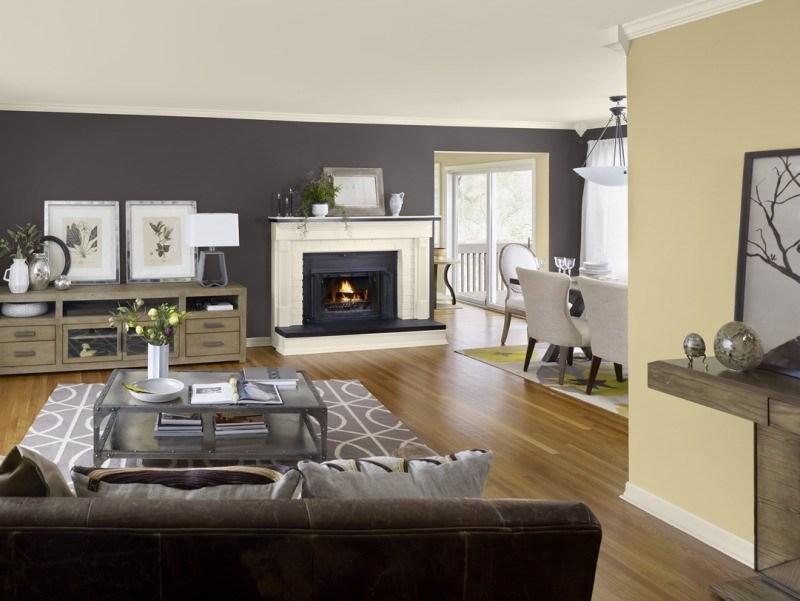 decorar pared colores salon negro amarillo ideas