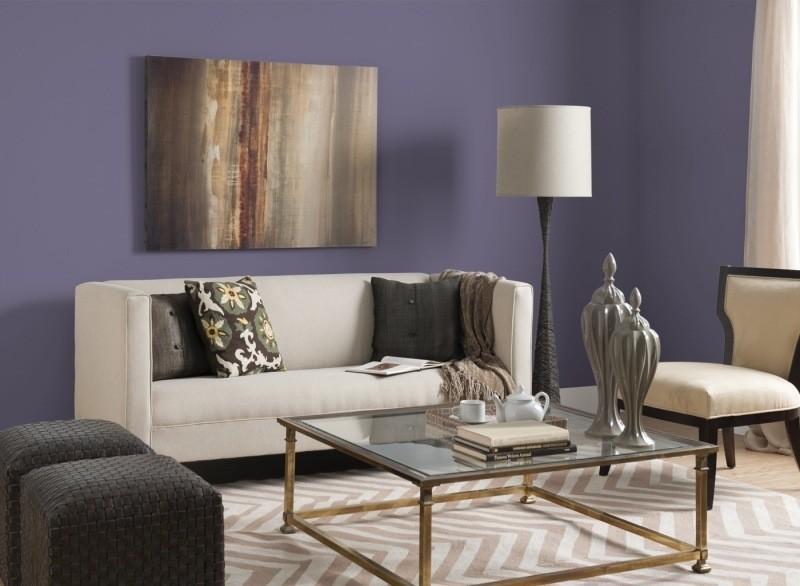 decorar pared colores salon purpura oscuro ideas