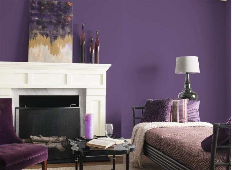 decorar pared colores salon purpura ideas