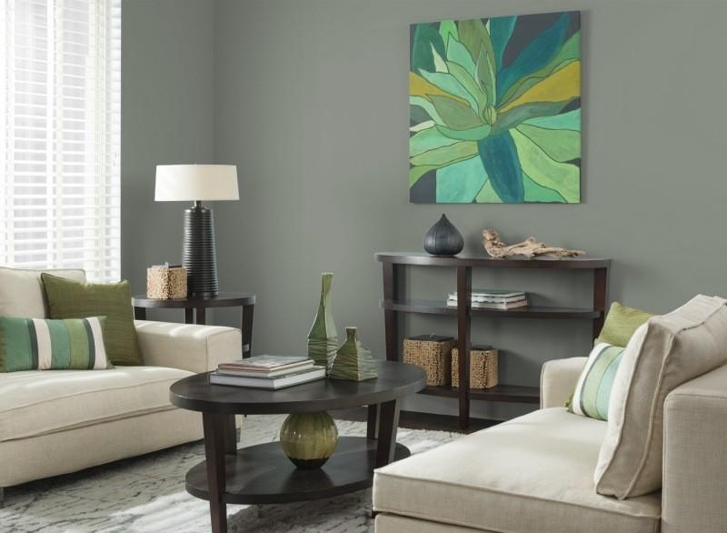 decorar pared colores salon gris oscuro ideas