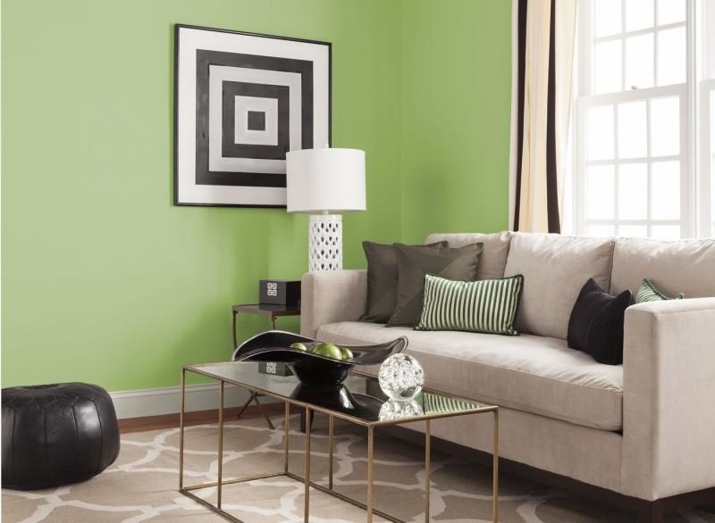decorar pared colores salon verde ideas