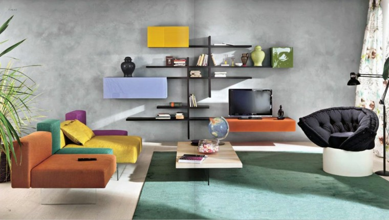 diseño salon estilo moderno colores