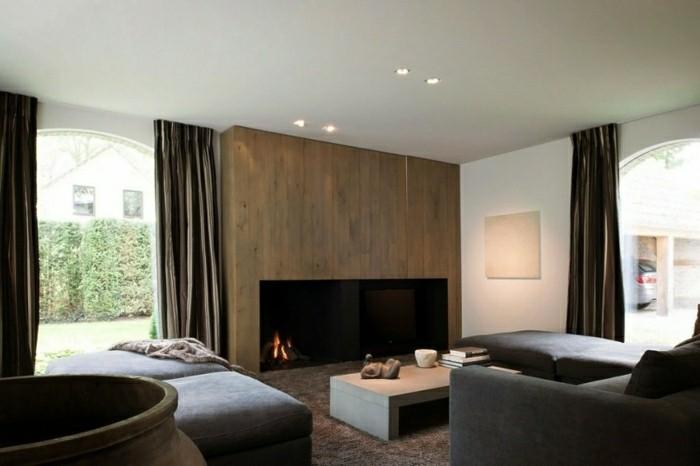 diseño salon moderno chimenea lujo