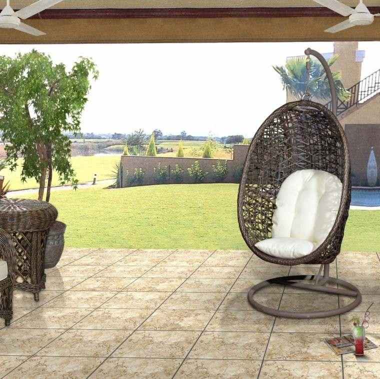 diseño silla colgante mimbre