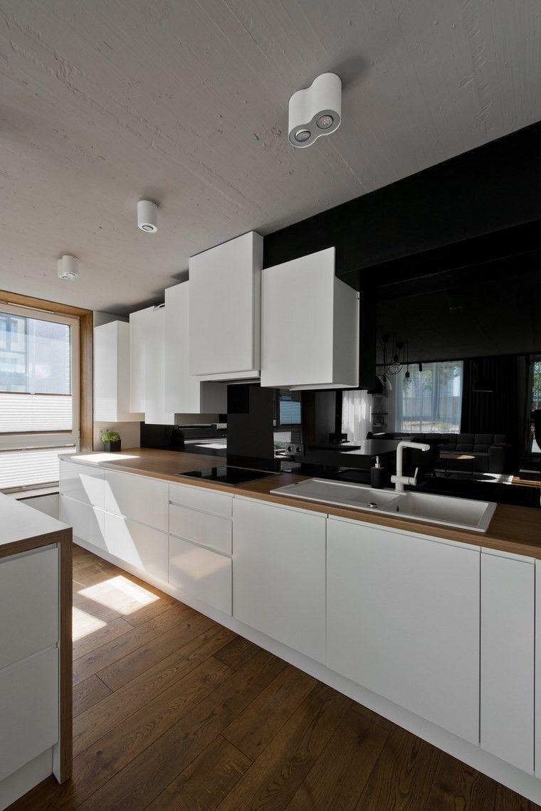 diseno de interiores estilo escandinavo cocina blanco negro ideas