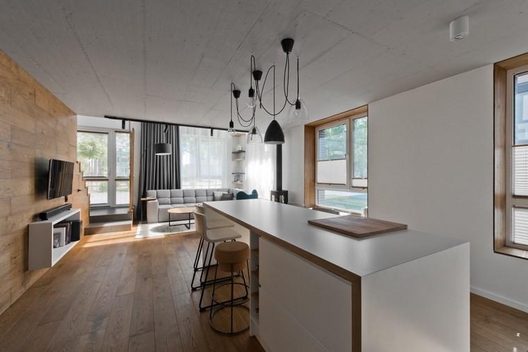 Diseño de interiores loft al estilo escandinavo muy moderno -