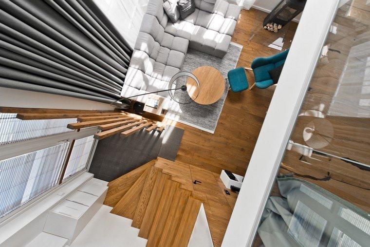 diseño de interiores loft estilo escandinavo cortinas elegantes ideas