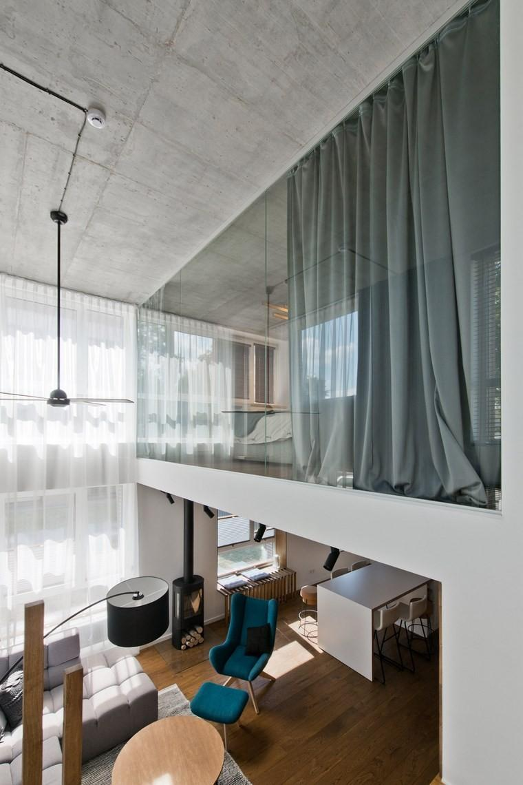 diseño de interiores loft estilo escandinavo cortinas verdes ideas