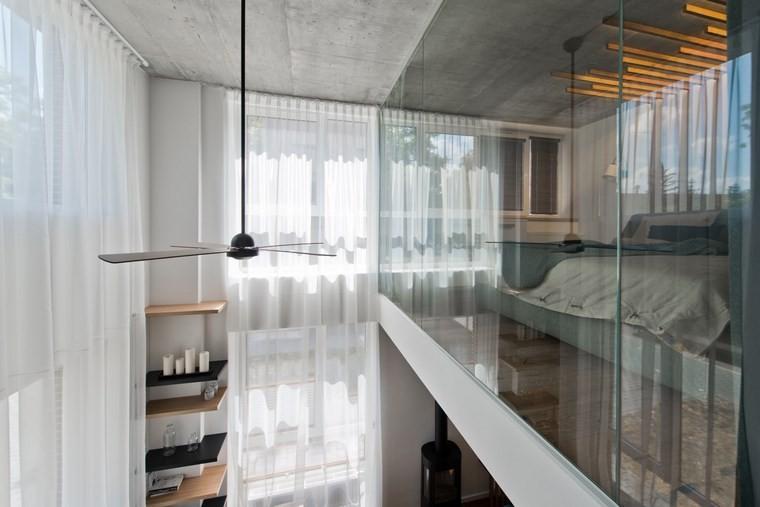 diseño de interiores loft estilo escandinavo dormitorio cristal ideas