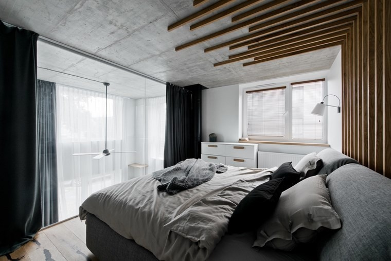 diseño de interiores loft estilo escandinavo dormitorio gris ideas