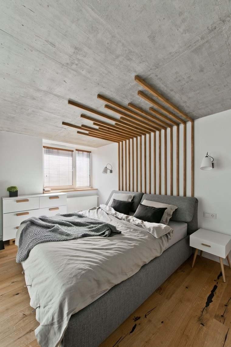 diseño de interiores loft estilo escandinavo dormitorio respaldo cama madera ideas