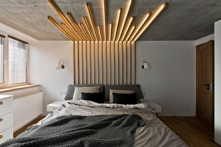 diseño de interiores loft estilo escandinavo dormitorio respaldo cama ideas