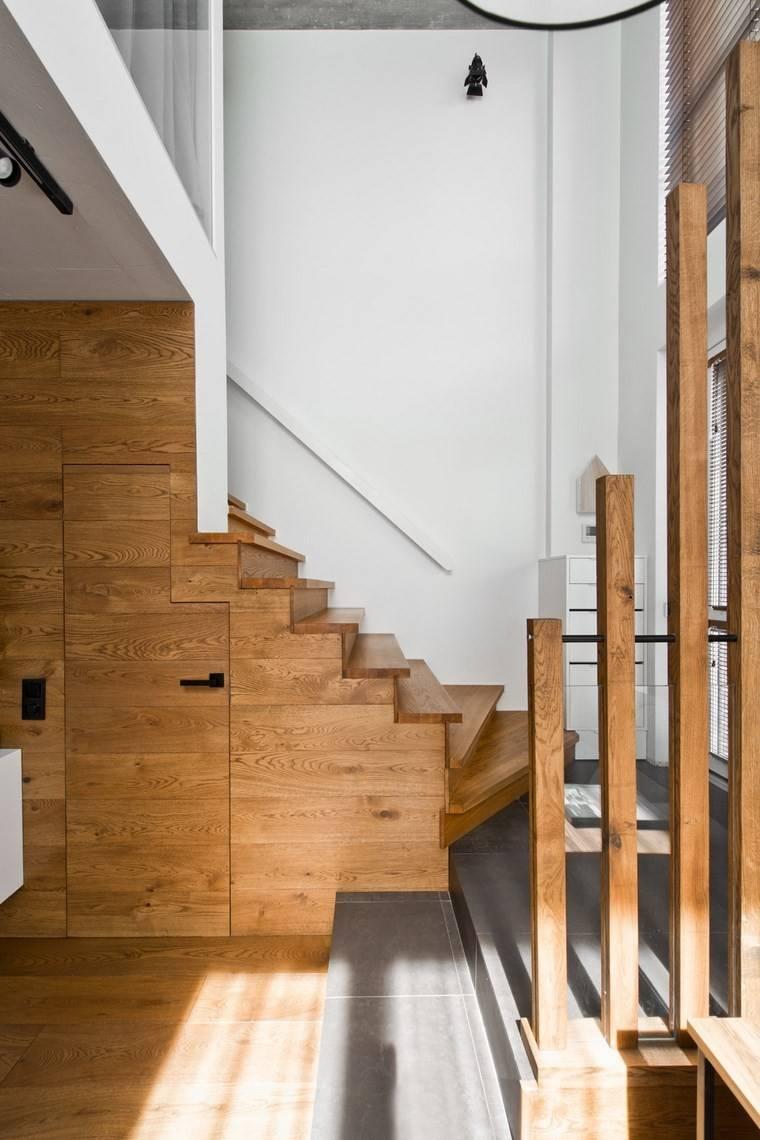 Dise o de interiores loft al estilo escandinavo muy moderno - Disenos de escaleras de madera para interiores ...