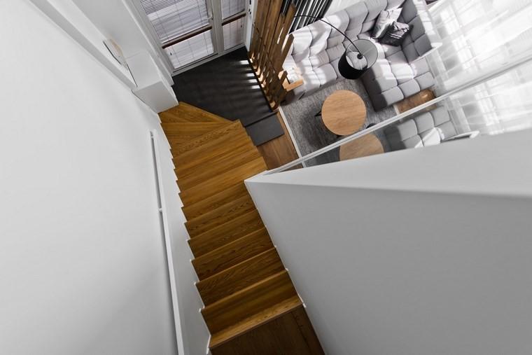 diseno de interiores estilo escandinavo salon escaleras madera bonitas ideas