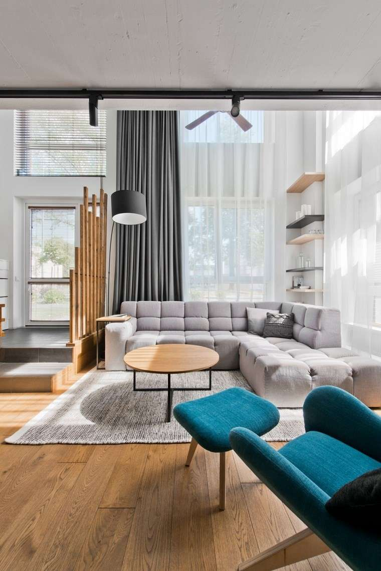 diseno de interiores estilo escandinavo salon estanterias flotantes ideas