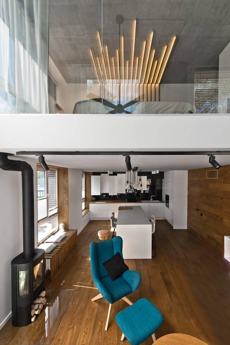 diseno de interiores estilo escandinavo salon paneles madera ideas