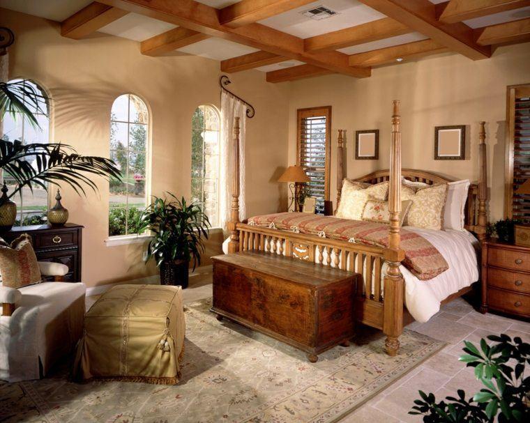 dormitorio de matrimonio ideas modernas cama dosel madera bonito
