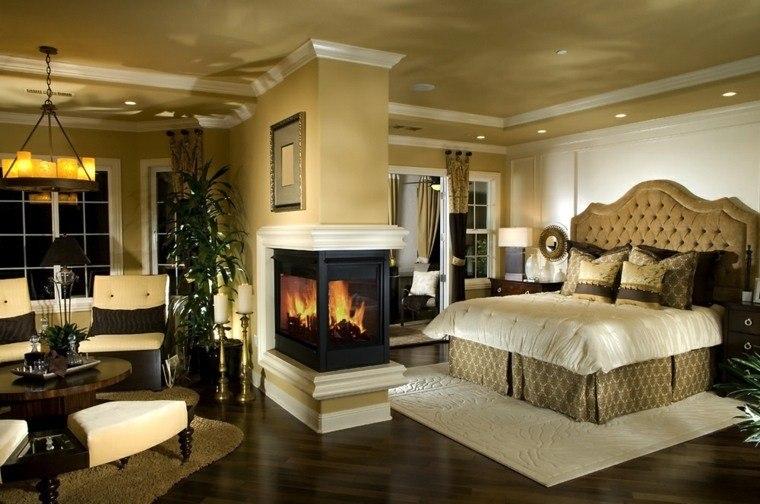 dormitorio de matrimonio ideas modernas chimenea pared bonito