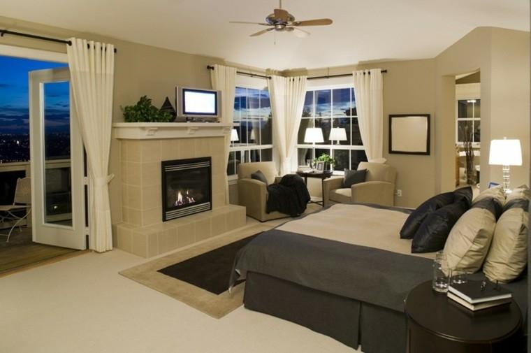 dormitorio de matrimonio ideas modernas pared beige chimenea bonito