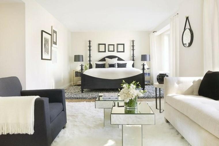 dormitorio de matrimonio ideas modernas sofa blanca sillon negro bonito