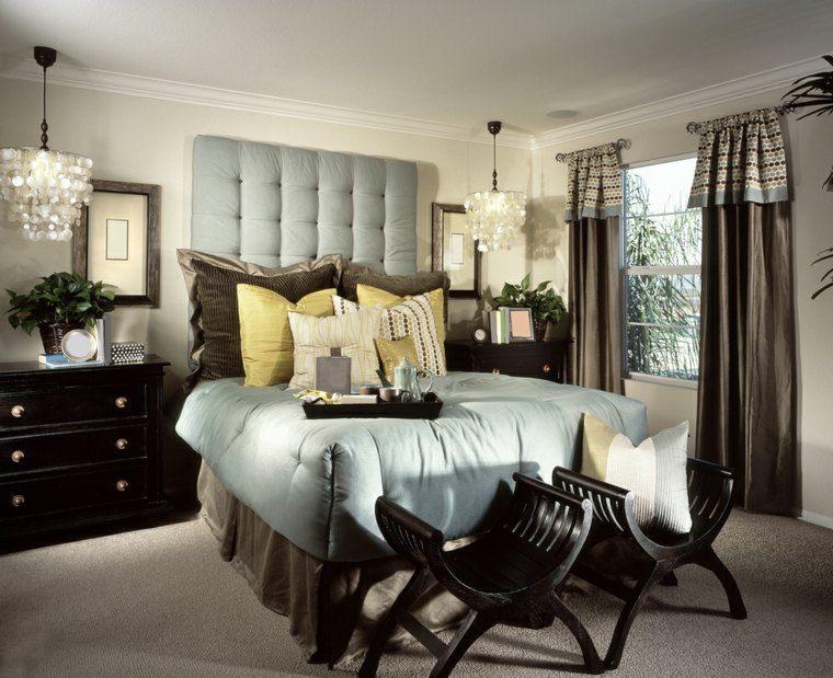 dormitorio de matrimonio ideas modernas taburetes madera bonitos