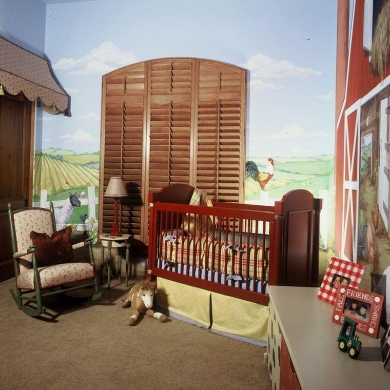dormitorio granja colorido neutral jirafa gallo