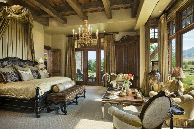 dormitorio matrimonio ideas modernas cama madera color oscuro bonito