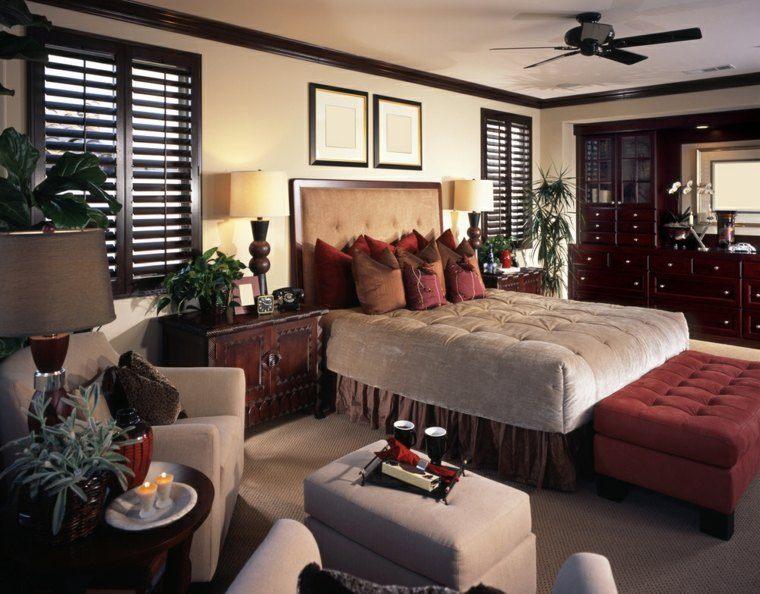 dormitorio matrimonio ideas modernas cojines plantas bonito