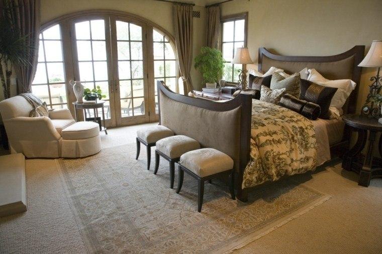 dormitorio matrimonio ideas modernas elegante taburetes bonitos