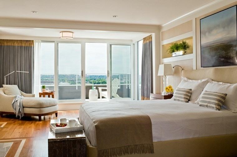dormitorio matrimonio ideas modernas sillones taburete blanco bonita