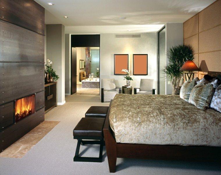 dormitorio matrimonio ideas modernas taburetes cuero bonito